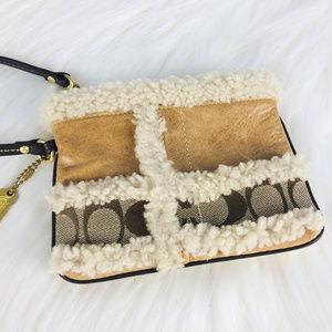 COACH Leather Patchwork Sheepskin Clutch Wristlet
